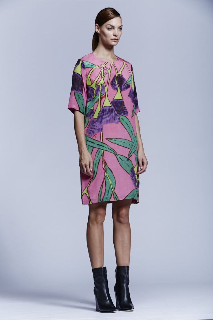 Native Flower Shift Dress. Roopa Pemmaraju Spring/Summer 2014/15, Urban Culture Collection. Artist: Reko Rennie