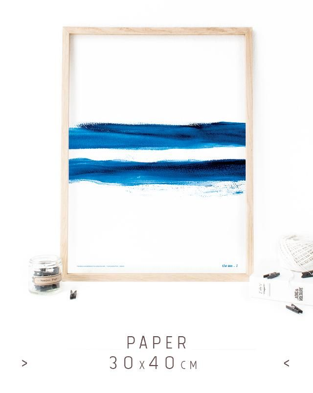 Blue poster print, watercolor finger painting, resembling the aegean sea with its thousand blue hues. Wall decor, souvenir from Greece, Aegean islands, by the Round Button.