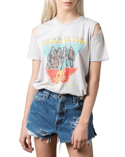 Aerosmith Cold-Shoulder Distressed Tee