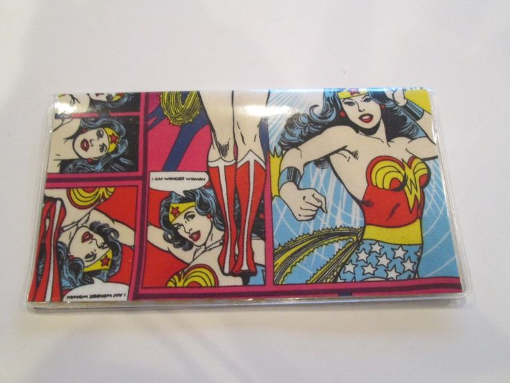 Checkbook cover wonder woman vinyl protector one of a kind