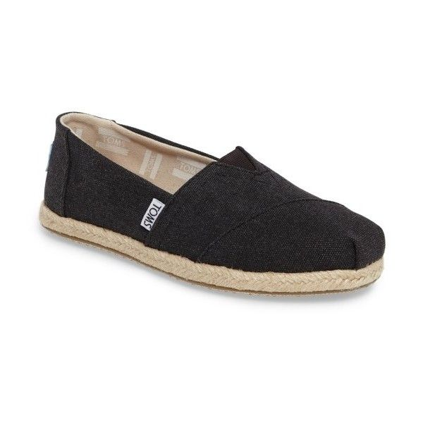 Women's Toms Espadrille Slip-On (195 BRL) ❤ liked on Polyvore featuring shoes, black, woven shoes, kohl shoes, black slip-on shoes, slip on espadrilles and woven slip on shoes