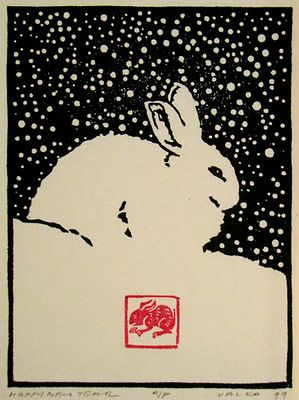 Happy New Year AP/75,   Andrew Valko RCA,  Woodblock (5.5x4 inch) 1999 #rabbit