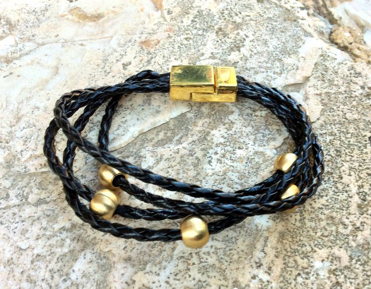 Bracelet, multi-cord braided leather bracelet, black leather bracelet, brass bracelet, stackable bracelet, magnetic clasp, unisex jewellery by Tmlccreations on Etsy