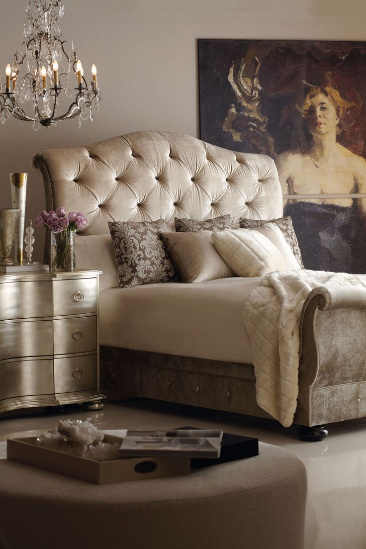 End Tables💕 U201c Romantic Bedroom Charisma Design   Love The Neutral Hues And  Suede Head And Foot Boards In This Bedroom U201d