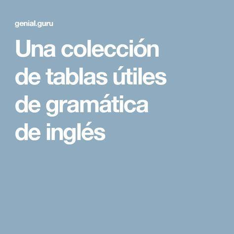 Una colección de tablas útiles de gramática de inglés