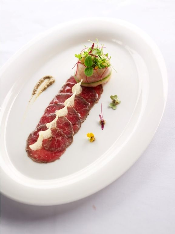 Smoked wagyu beef carpaccio food porn pinterest for Fine dining gourmet recipes