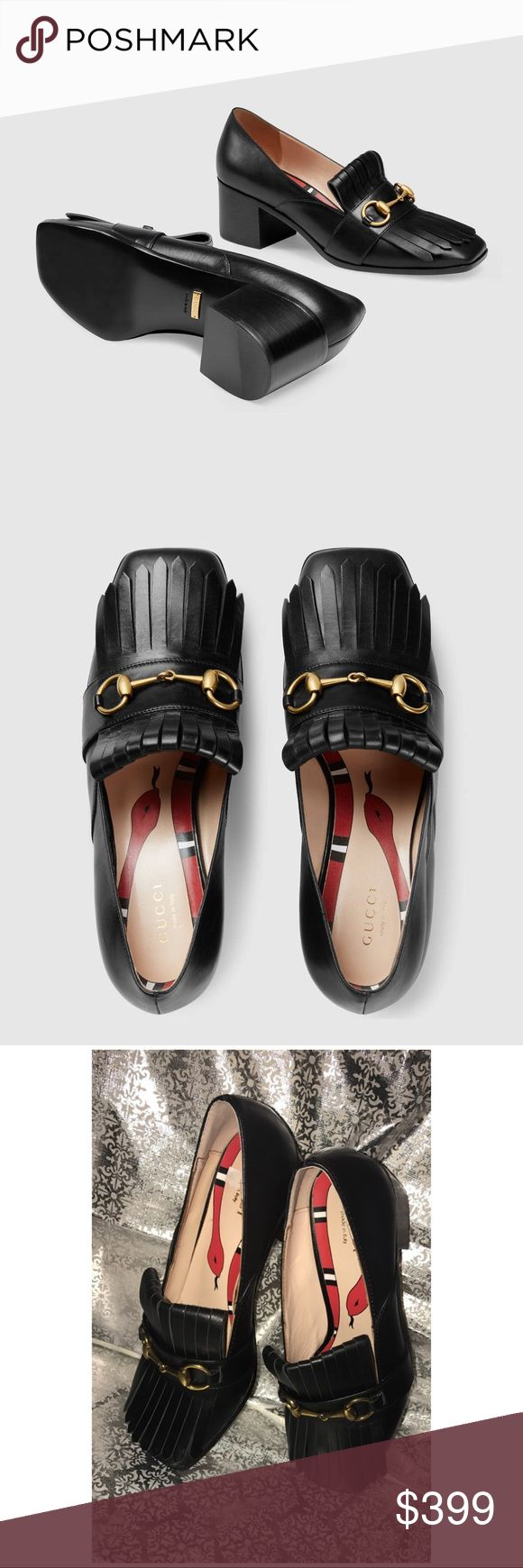 Gucci Leather Mid Heel Loafers  <div class=