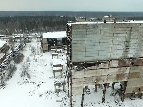 Drone shows giant Russian abandoned factory in winter