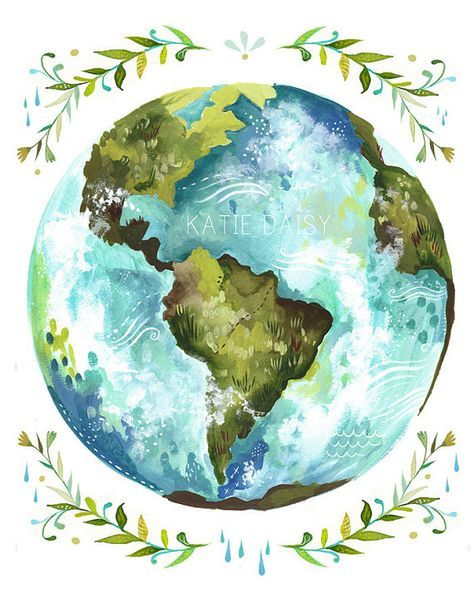 Dear Earth Art Print | Watercolor Wall Art | Inspirational Print | Globe | Katie Daisy | 8×10 | 11×14