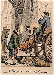 """The Great Plague (1665–1666) was the last major epidemic of the bubonic plague to occur in the Kingdom of England (part of modern day United Kingdom). It happened within the centuries-long time period of the Second Pandemic, an extended period of intermittent bubonic plague epidemics which began in Europe in 1347, the first year of the """"Black Death"""" and lasted until 1750."""