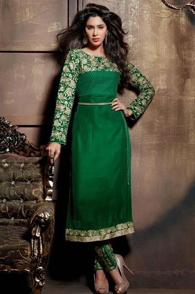 USD 121.86 Green Floral Patch Work Pakistani Style Suit  40963
