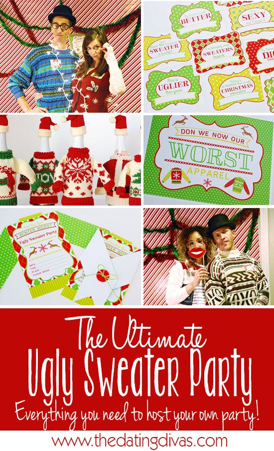 This site has EVERYTHING you need to host an ugly sweater party for FREE! Invitations, name tags, signs, food labels... the works!