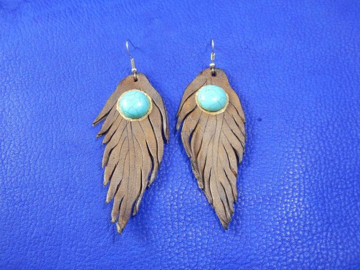 Brown leather earrings with turquoise Feather, Кожаные серьги с бирюзой Перо by RozaBracelets on Etsy
