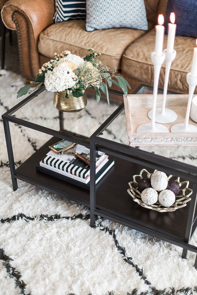 White And Black Fuzzy Rug, Brown Leather Couch, Gray And Navy Pillows,  Glass Coffee Table With Black Iron Accents. Awesome My Living Room Tour    The ...