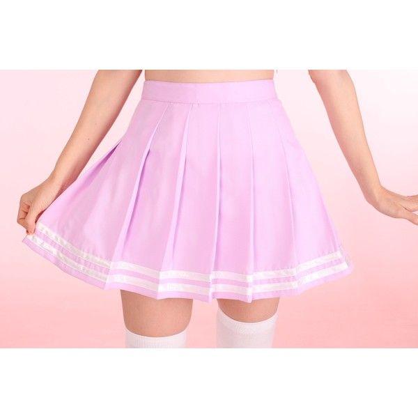 Pastel Purple Cheerleading Skirt ❤ liked on Polyvore featuring skirts, purple skirt, pastel pink skirt, pink skirt and pastel skirts