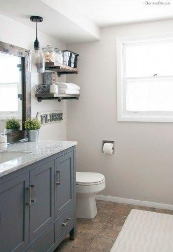 Absolutely love the metal and wood open shelves above the toilet and that pendan…   – most beautiful shelves