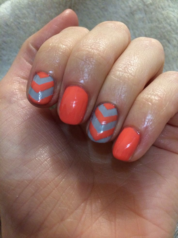 Grey & coral chevron nails