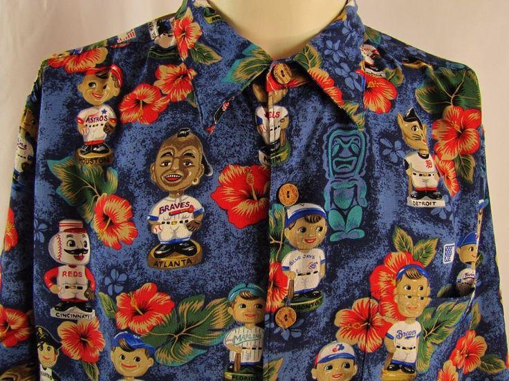 REYN SPOONER BASEBALL BOBBLEHEAD Hawaiian Shirt 100% Rayon Large MLB Cubs Sox #ReynSpooner #ButtonFront