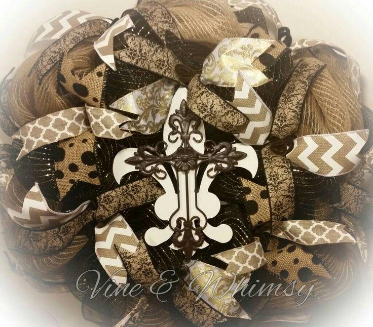 Deco mesh wreath fleur de lis cross, door wreath southern decor, burlap ribbon, door hanger, jute mesh, all season door decor black tan