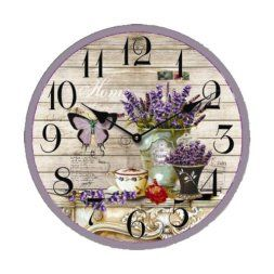 Purple wall art is funky, cute and currently trendy. You can see how popular purple home wall art décor  is on home décor shows on TV, Online and even in your own community. Additionally purple wall art is truly  charming and pretty. #purple       Creative Motion Butterfly Flower Clock