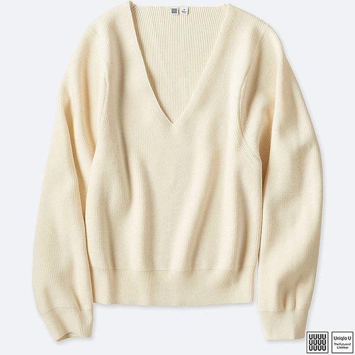 Uniqlo Women's U Merino Blend V-Neck Sweater
