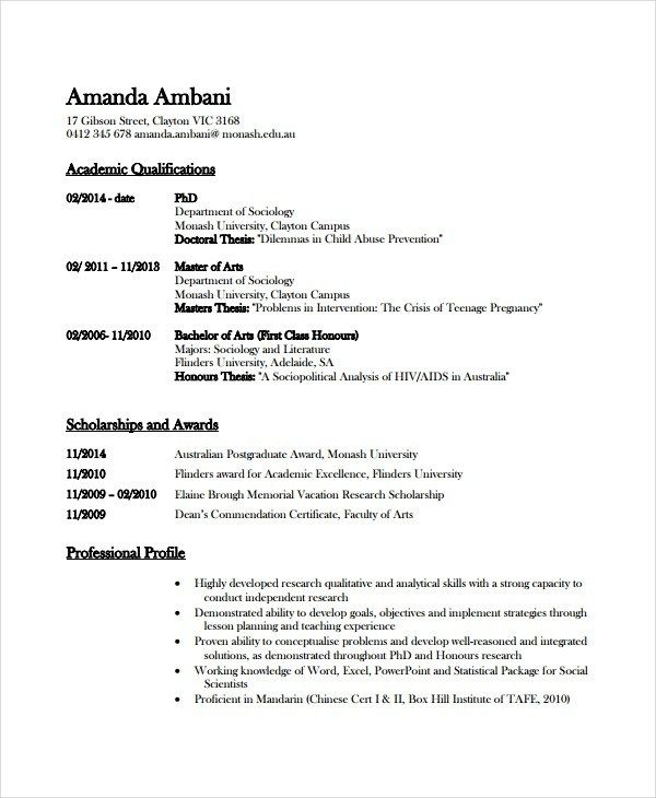 Academic Resume Template Word from i.pinimg.com