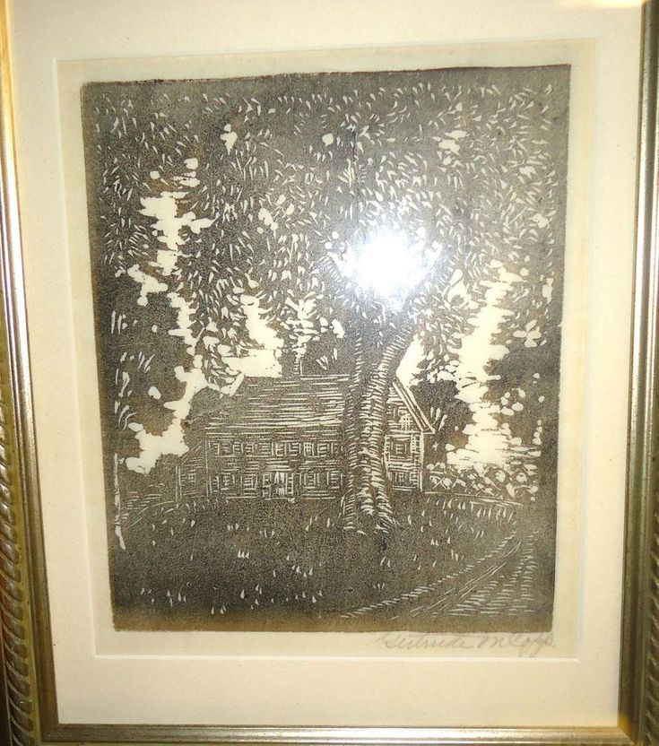 Small Framed Gertrude Mae Copp Woodblock Print Farmhouse Scene Signed