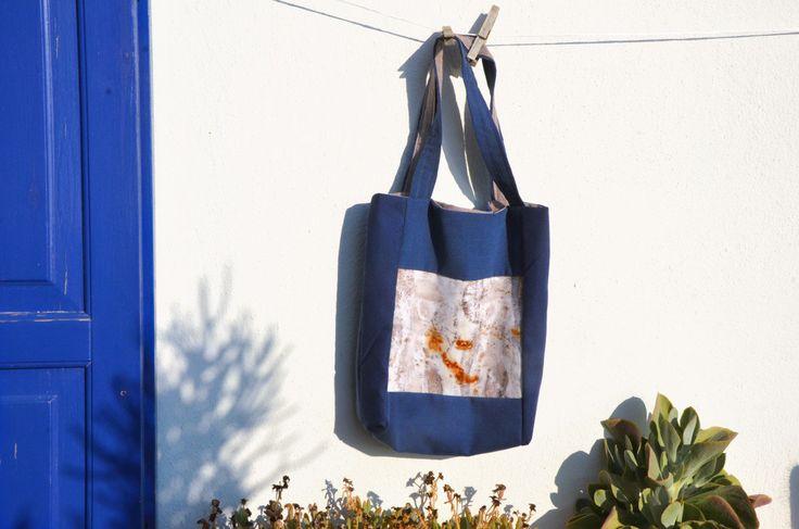 Handmade tote bag Eco print Eco dye Cotton Botanical