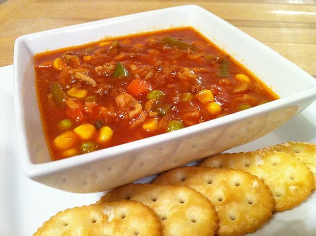 Comforting Hamburger Soup | Vintage Cooking. A recipe for hamburger soup made with hamburger, mixed vegetables, V-8 juice, Ramen noodles, and beefy onion soup mix. Hamburger soup is one of our favorite weeknight dinners. We usually have the ingredients on hand and it makes a hearty and satisfying winter meal. Everyone leaves the table content and happy when I make […] http://www.vintagecooking.com/hamburger-soup/