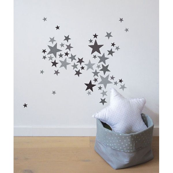 Lot stickers etoiles trendy gris lilipinso and co au for Stickers phrase chambre bebe