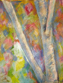 Silver birch with abstracted background  Margaret Hage, acrylic on paper