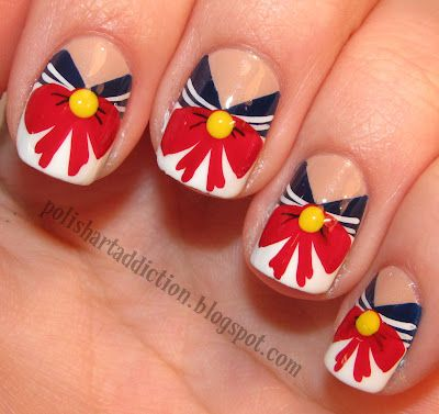 I'm not bold enough to wear this, but I find the design beautiful. This nail art is especially unique during the spring season. It has a nautical look to it.