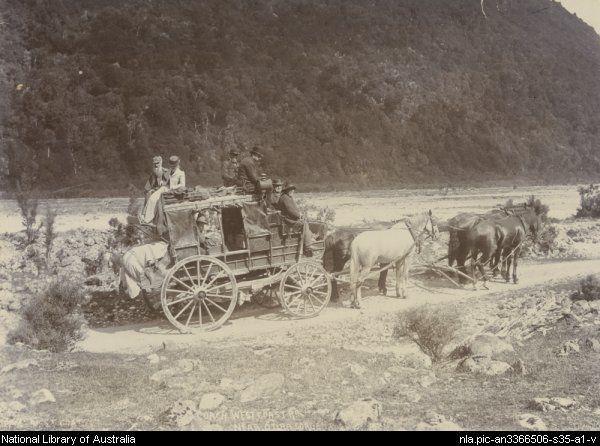 Cassidy's coach, West Coast Road near Otira Gorge, New Zealand, 1895. Source: National Library of Australia Via: @nlagovau