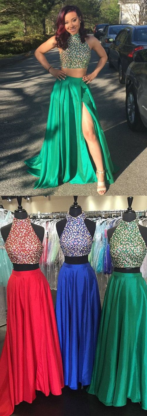2017 prom dresses, 2 pieces prom dresses,halter prom party dresses,split prom party dresses,sparkling prom dresses,elegant prom party dresses,fashion,women fashion