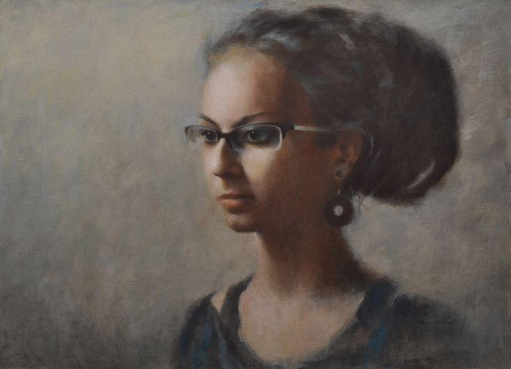 perfume - oil on lienen, 110x80 cm #portrait #oil