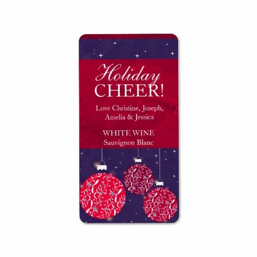 Make your holiday wine gifts or Christmas wine personal. Christmas wine label baubles red blue name. Designed by www.sarahtrett.com