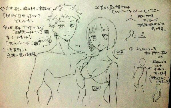 男性女性の胴体の描き分け00                                                                                                                                                                                 もっと見る