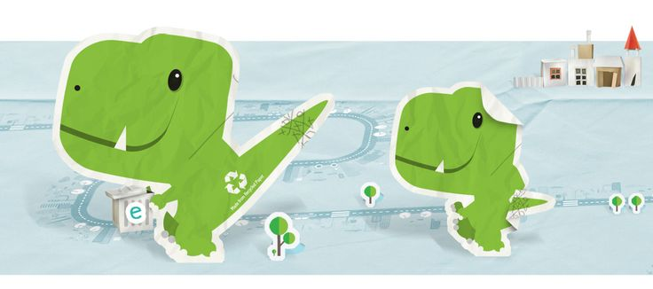 Brand Mascot Design, Eco Dino | Waste No Scraps The eco dinosaur was a brand mascot designed for Erth. All hatched from crumpled scraps of paper, nothing really went to waste. The mascot was a manifestation of Erth's eco business... Please visit our website to read more on the design synopsis. #character #design #characterdesign #illustration