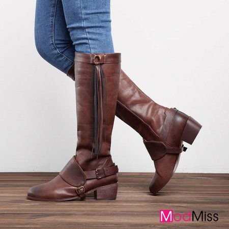 7ad1c4339b88 Women Vintage Winter Boot Knee High Chunky Heel Shoes Boots  Vintage   Modmiss Pick
