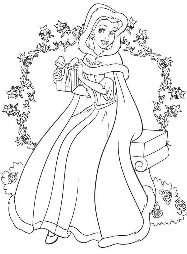 Christmas Disney Princess Coloring Page