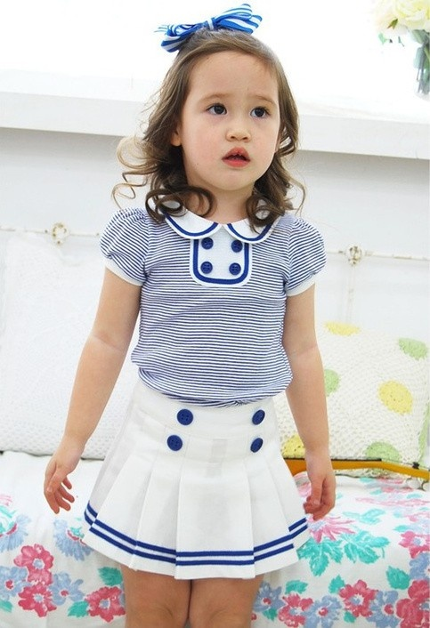 Vintage Inspired Baby & Children's Clothes Vindie Baby Girl Blue Stipes Vintage Inspired Sailor Dress