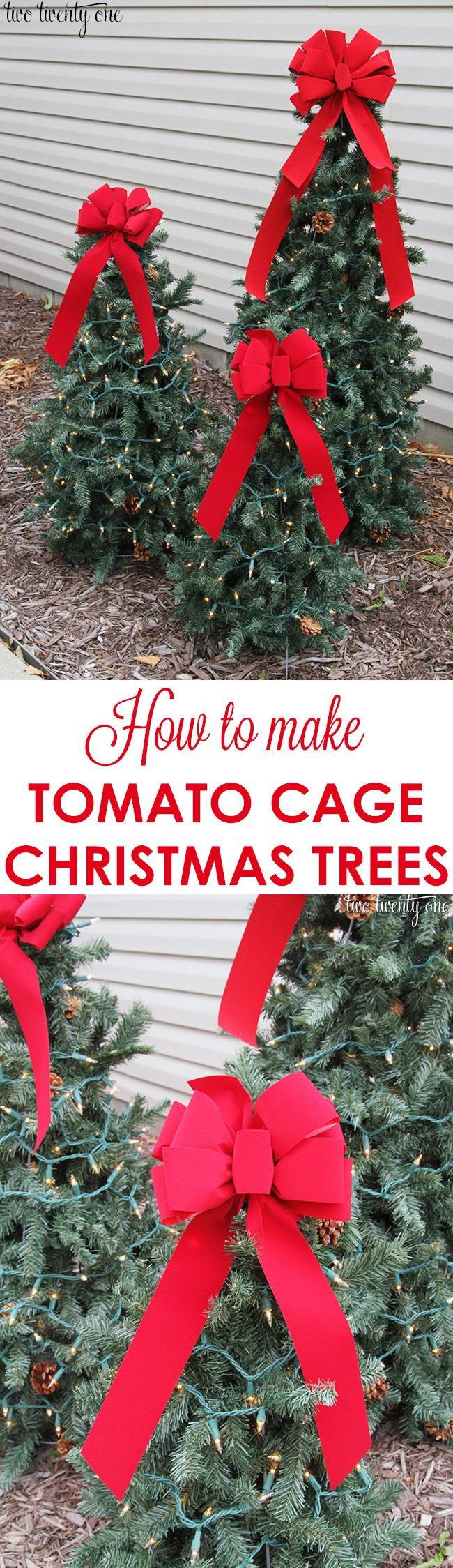 How to make tomato cage Christmas trees! **To ensure trees don't blow over, I would attach a cinder block or something heavy inside the tomato cage before assembling the tree.