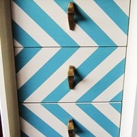 Great diagonal stripes on these dresser drawers.  MakandJill - Portfolio
