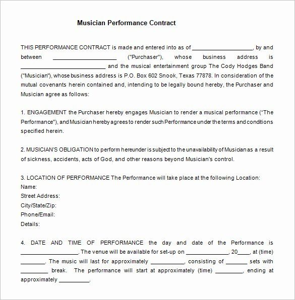 Artist Performance Contract Template Inspirational 12 Performance