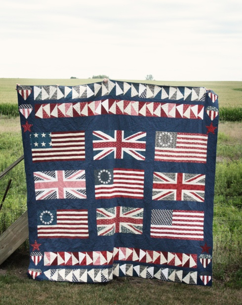 American and British flag quilt