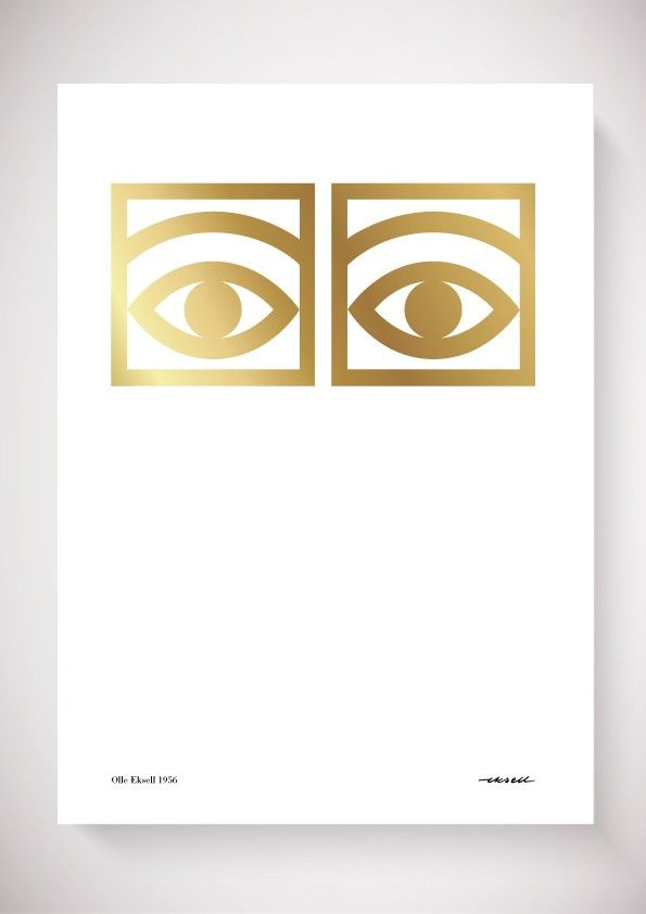 """Cocoa Eyes Gold edition 50x70 cm   Olle Eksell for Mazetti. Environmentally friendly lithographic printing on 200g quality uncoated paper with """"gold""""."""