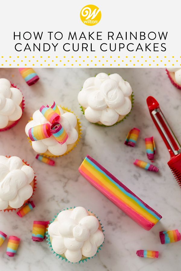 Rainbow Candy Curl Cupcakes | Sweet on Cupcakes in 2019