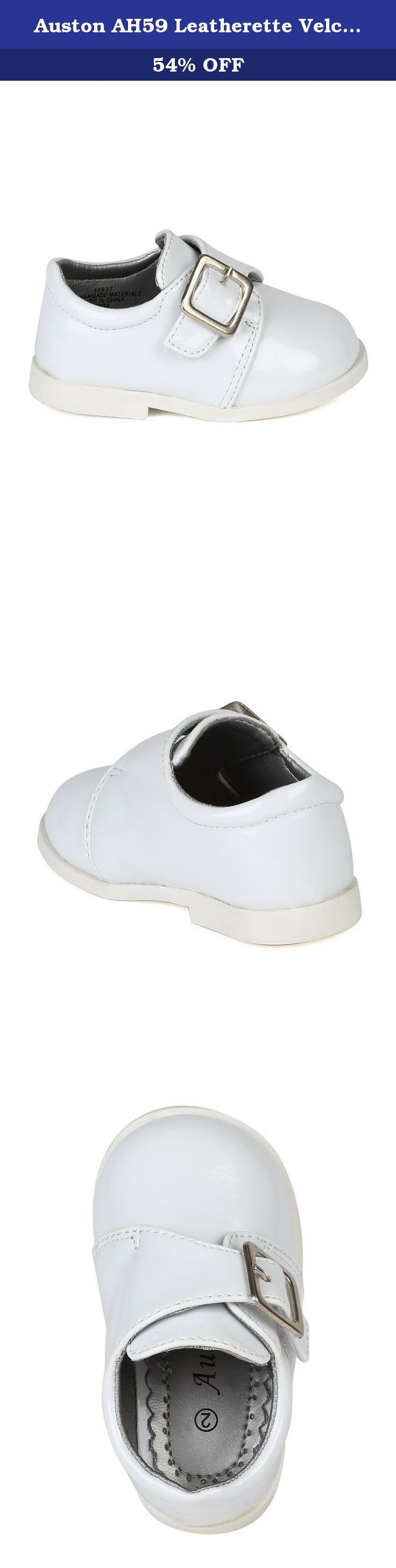 Auston AH59 Leatherette Velcro Buckle Strap Dress Church Shoe (Infant / Baby Boy) - White (Size: Toddler 7). These stylish dress shoes are the perfect compliment to your little man's handsome look! Designed with leatherette upper, vecro strap on vamp for secure fit, slip on for easy in and out, completed with extra padded insole for all day comfort and play!.