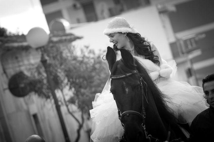 in sella, sposa, matrimonio, cavallo