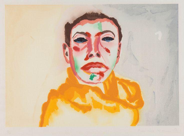 "Francesco Clemente (Italian, born 1952) / ""I - Self portrait,"" 1982 / Color woodcut on paper / Des Moines Art Center; Paul and Anastasia Polydoran Collection, 2008.47 / Photo Credit: Rich Sanders, Des Moines"